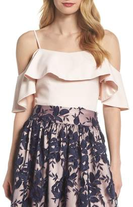 Eliza J Ruffled Cold Shoulder Top