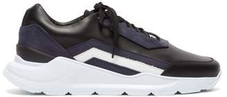 Buscemi Strada Low Top Leather Trainers - Mens - Black Navy