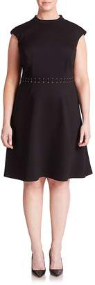 ABS by Allen Schwartz ABS, Plus Size Women's Lace-Up Detail Cap-Sleeve Dress - Black, Size 0x (10-12)