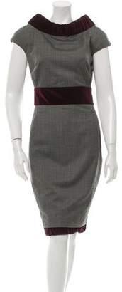 DSQUARED2 Wool Velvet-Trimmed Dress