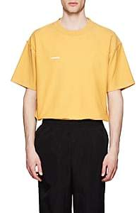 Vetements Men's Logo Cotton Oversized Inside-Out T-Shirt-Yellow