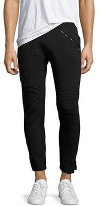 Neil Barrett Neoprene Biker Sweatpants, Navy $740 thestylecure.com
