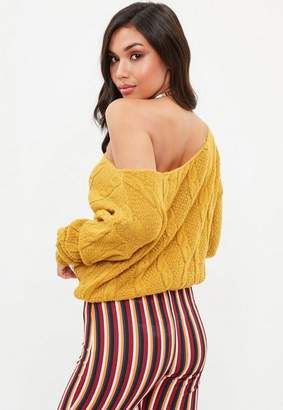 Missguided Petite Yellow Off The Shoulder Knit Sweater