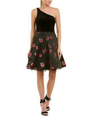 Betsey Johnson Women's One Shoulder Velvet and Floral Party Dress