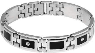 JCPenney FINE JEWELRY Mens 1/8 CT. T.W. Diamond Stainless Steel & Resin Link Bracelet