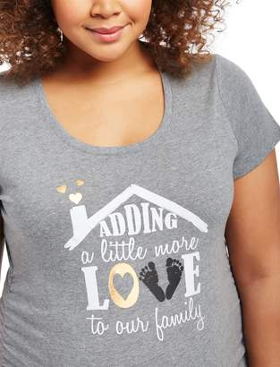 80c057d19acb8 Motherhood Maternity Plus Size Adding a Little More Love to Our Family Maternity  Graphic T Shirt