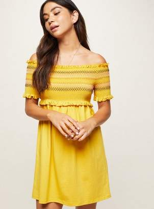 Miss Selfridge Petite ochre shirred embroidered bardot dress