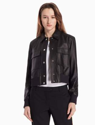 Calvin Klein nappa leather cropped jacket