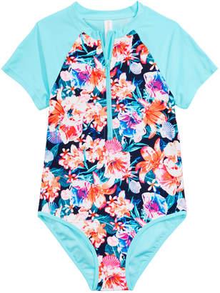 3cf0e9a78ecc2 Ideology Big Girls 1-Pc. Floral-Print Rash Guard Swimsuit
