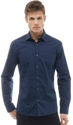 French Connection Mens Formal Plain Cut Long Sleeve Shirt Marine