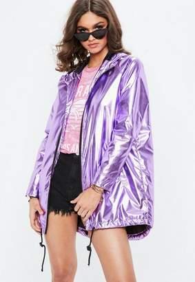 Missguided Purple Metallic Rain Mac Jacket