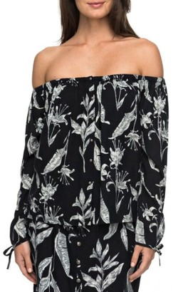 Women's Roxy Print Off The Shoulder Neckline $44.50 thestylecure.com