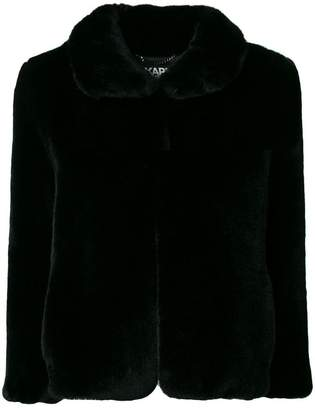 Karl Lagerfeld logo faux fur jacket