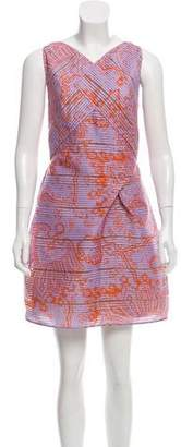 Roland Mouret Sheer-Accented Printed Dress w/ Tags