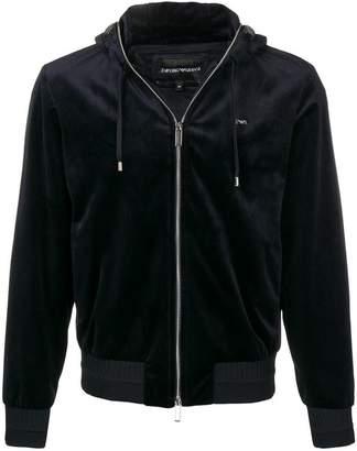 Emporio Armani velvet zipped hoodie