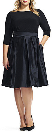 Adrianna Papell Adrianna Papell Plus Taffeta Fit-and-Flare Party Dress