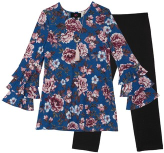 Amy Byer Iz Girls 7-16 IZ Ruffled Long Sleeve Floral Tunic & Leggings Set with Necklace