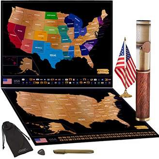 """Scratch off Map of USA Travel Poster With US States Outlined State Flags 24"""" x 17"""" 