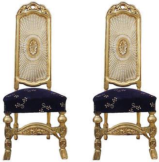 ... One Kings Lane Vintage Sunburst Cane Back Chairs   Set Of 2