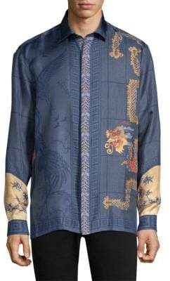 Versace Chinoiserie Print Silk Button-Down Shirt