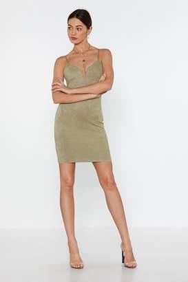 Nasty Gal Faux Suede Mini V Bar Dress