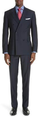 Canali Classic Fit Double Breasted Stripe Wool Suit