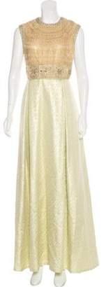 Naeem Khan Embroidered Evening Dress Gold Embroidered Evening Dress