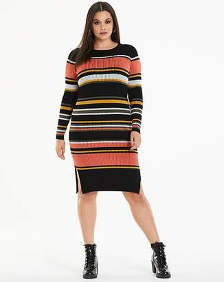 8a1a60954c5 Multi Stripe Ribbed Knitted Jumper Dress