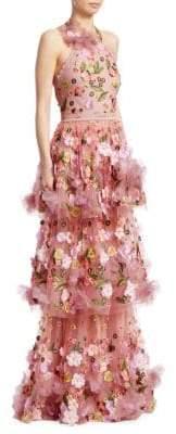 Marchesa Halter Tiered Floral Gown