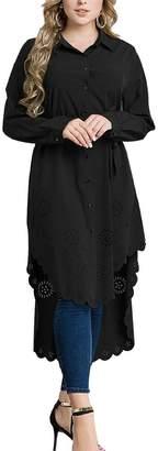 QD-CACA Women Muslim Islamic High Low Hem Shirt Dress Midi Dress XXXL