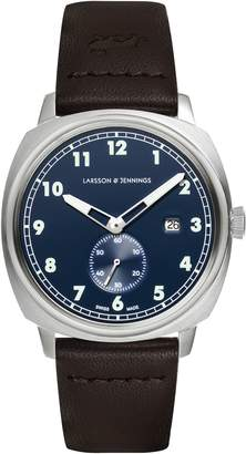Larsson & Jennings Editor 38mm Watch Silver & Navy Sandblasted
