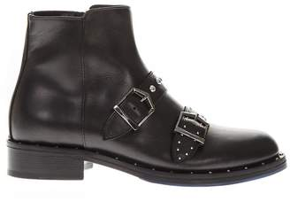 Frankie Morello Black Leather Studs Ankle Boots