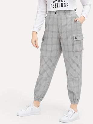 Shein Plus Dual Pocket Plaid Cargo Pants