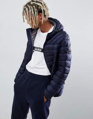 Napapijri Aerons hooded quilted puffer jacket in navy