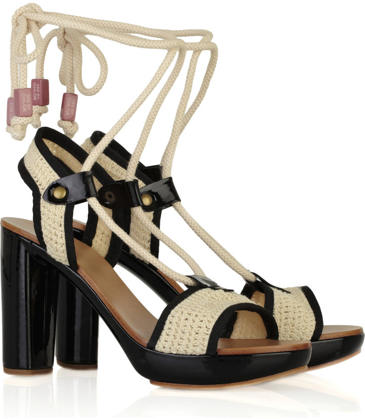 See by Chloé Crochet ankle-tie sandals