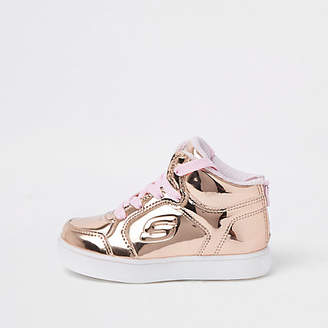 Skechers Mini girls rose gold hi-top sneakers