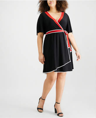 NY Collection Plus Size Flutter-Sleeve Wrap Dress