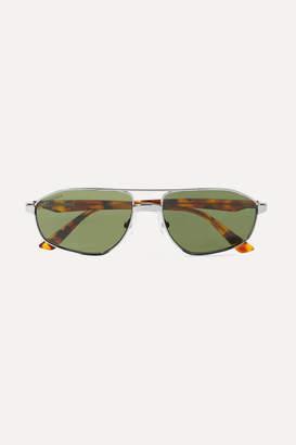 Balenciaga Vintage Aviator-style Silver-tone Sunglasses - Green