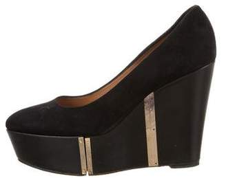 Alexa Wagner Suede Round-Toe Wedges