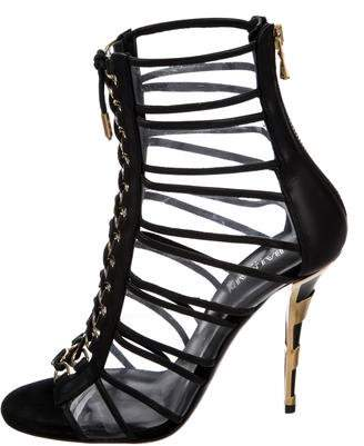 Balmain PVC Leather-Trimmed Sandals w/ Tags