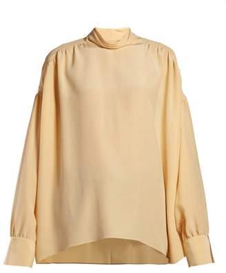 The Row Losaline Silk Crepe De Chine Blouse - Womens - Yellow