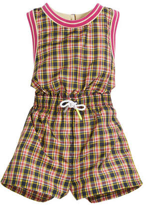 Burberry Pollie Woven Plaid Romper, Size 4-14