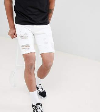 Asos Design DESIGN denim shorts in skinny longer length white with heavy rips