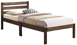 Benzara Simply Design Twin Bed With Wooden Slatted Headboard