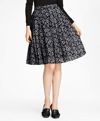 Brooks Brothers Floral-Print Glen Plaid Pleated Skirt
