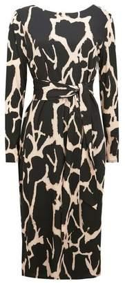 Wallis Black Animal Print Jersey Midi Pencil Dress