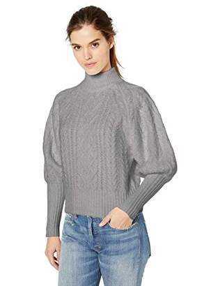 BCBGMAXAZRIA Women's Balloon Sleeve Cable Knit Turtleneck Sweater