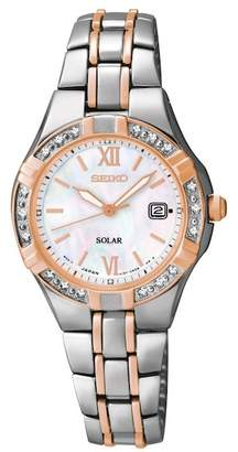Seiko Women's Two-Tone with Diamonds Solar Watch, 27mm