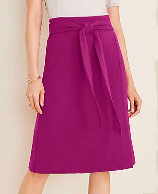 Ann Taylor Petite Doubleweave Tie Waist Wrap Skirt