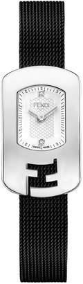 Fendi Chameleon 2-Diamond Watch w\/ Mesh Bracelet Silver\/White
